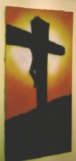 Kreuz Gemälde im Jugendraum